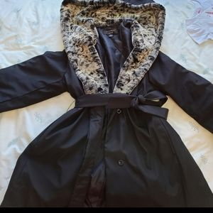 Fuweimeng leopard print hooded black jacket
